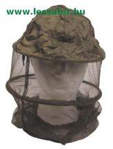 Szúnyoghálós arcvédő kapucni fém gyűrűvel.