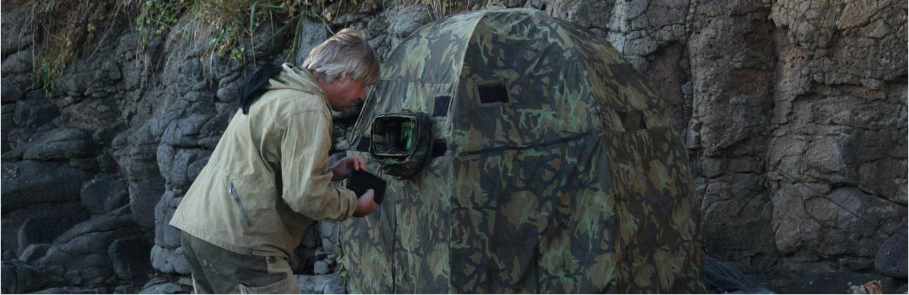 Francz Hafner egy szibériai filmforgatáson.